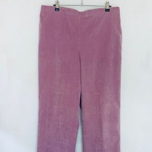 Alfred Dunner Pull On Corduroy Rose Pants 14